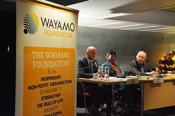 Moderator Mark Kersten, Navi Pillay, Richard Goldstone, and Athaliah Molokomme. Photo: Kris Kotarski, Wayamo Foundation.
