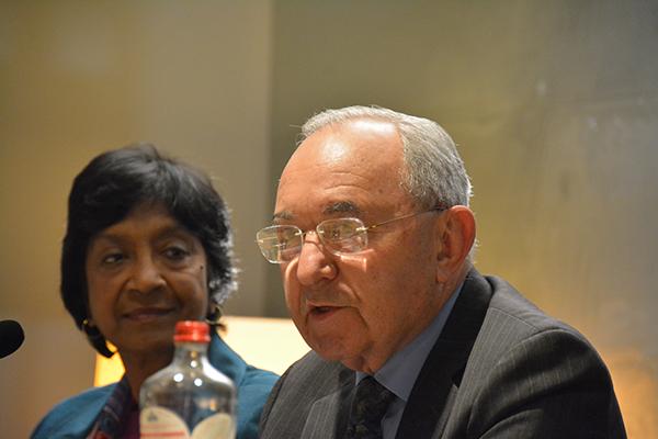 Africa Group members Navi Pillay and Richard Goldstone. Photo: Kris Kotarski, Wayamo Foundation.
