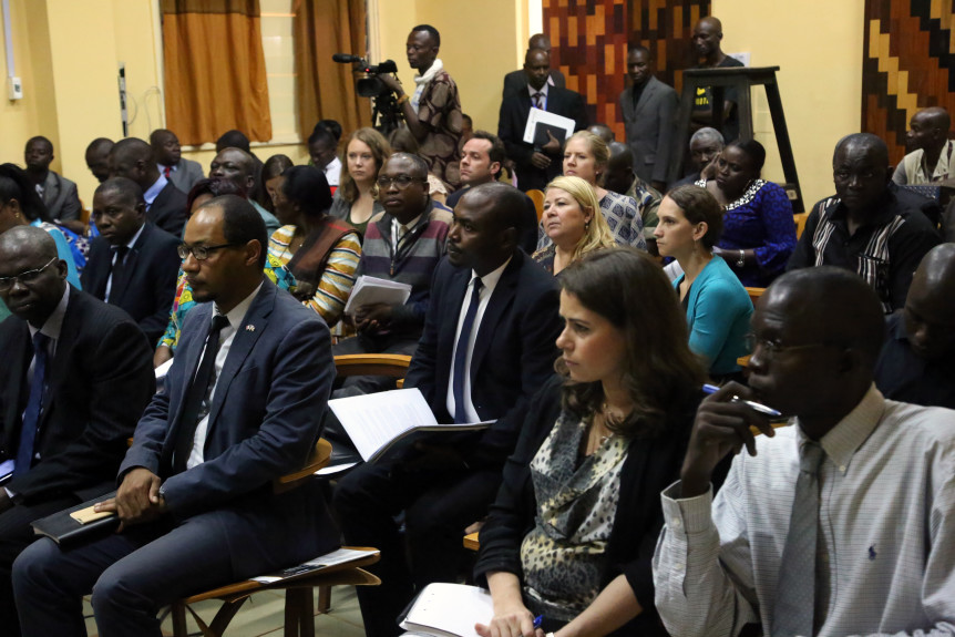 "Audience members during the Africa Group for Justice and Accountability conference ""Special Criminal Court for Central African Republic — Context, Challenges and Perspectives"" held in Bangui, Central African Republic on 22 September 2016. Inaugurated by CAR's Chief Cabinet Secretary Jean-Christophe Nguinza, the conference brought together Central African government representatives and judicial officials, members of the diplomatic community, international organisations (especially the UN's peacekeeping mission MINUSCA in CAR), NGO representatives, as well as ordinary Central African citizens wanting to find out more about the proposed hybrid tribunal."