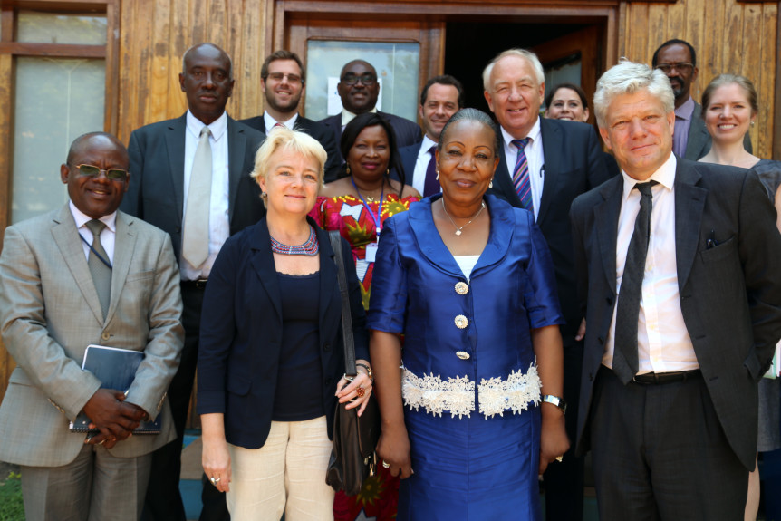 The Africa Group for Justice and Accountability's expert delegation to Bangui meets Fabrizio Hochschild (front row, right), Deputy Special Representative for the United Nations Multidimensional Integrated Stabilization Mission in the Central African Republic (MINUSCA).
