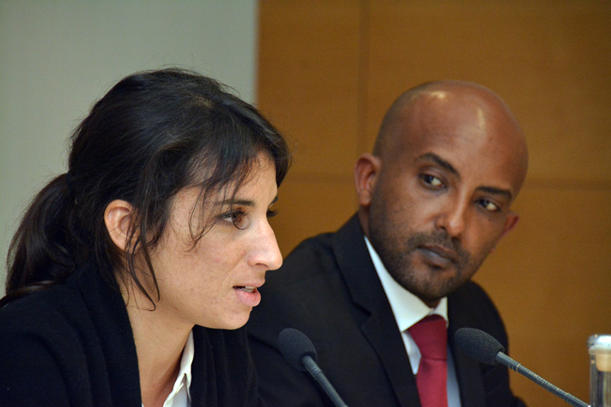 "Sofia Candeias, Judicial Affairs Officer, Team of Experts; Office of the United Nations Special Representative of the Secretary-General on Sexual Violence in Conflict and Netsanet Belay, Africa Director, Research and Advocacy, Amnesty International, at the 16 November 2016 event on ""Strengthening the Central African Republic's Justice System and Operationalising the Special Criminal Court."" Photo by Kris Kotarski."