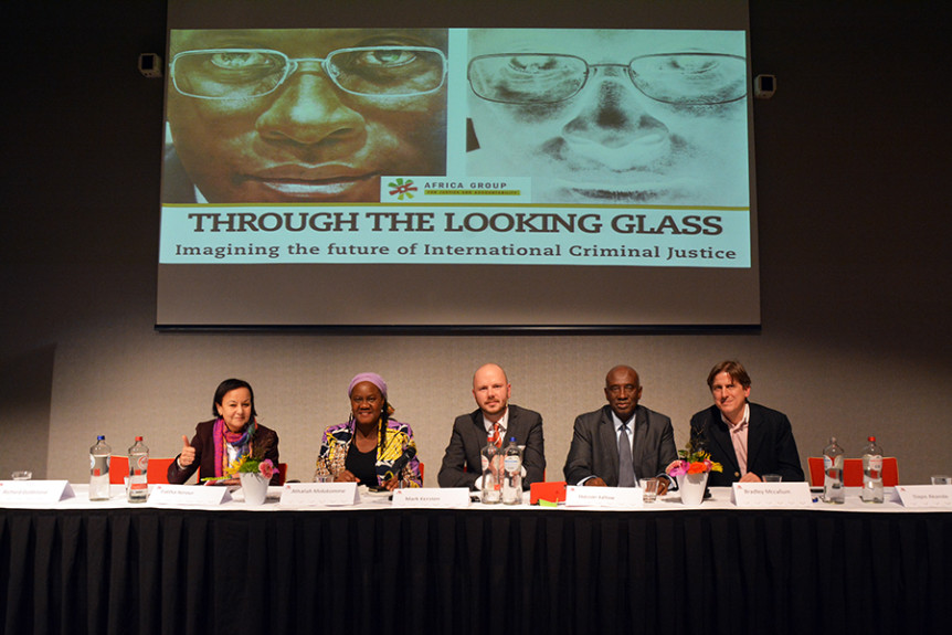 "Fatiha Serour, Athaliah Molokomme, Mark Kersten, Hassan Jallow and Bradley McCallum at the 21 November 2016 event ""Through the looking glass – Imagining the future of international criminal justice"" held on the sidelines of the 2016 International Criminal Court Assembly of States Parties in The Hague, Netherlands. Photo by Kris Kotarski."