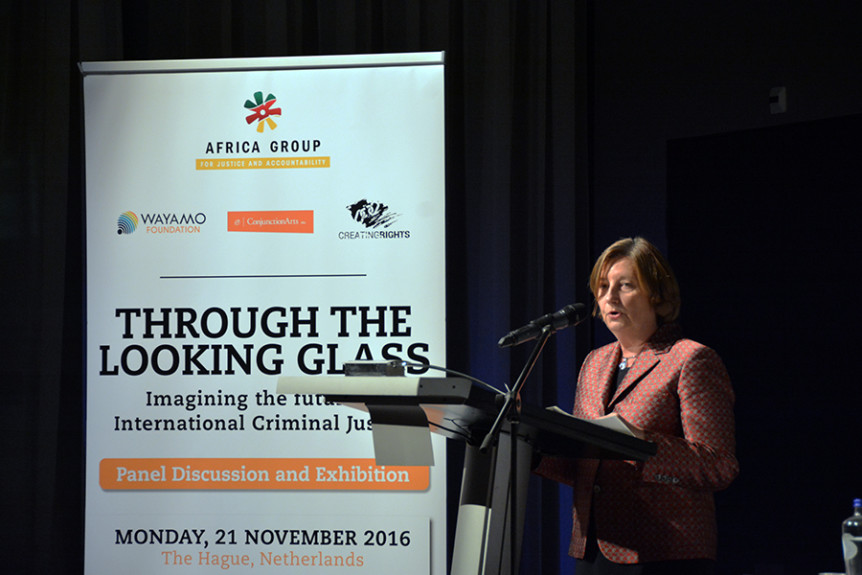 "President of the International Criminal Court Judge Silvia Fernández de Gurmendi at the 21 November 2016 event ""Through the looking glass – Imagining the future of international criminal justice"" held on the sidelines of the 2016 International Criminal Court Assembly of States Parties in The Hague, Netherlands. Photo by Kris Kotarski."