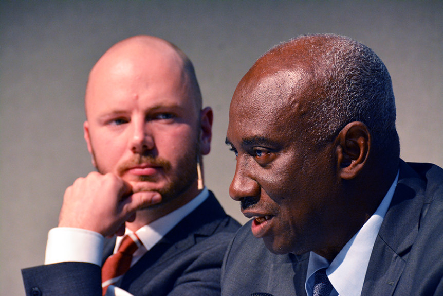 "Moderator Mark Kersten and the Africa Group's Hassan Jallow at the 21 November 2016 event ""Through the looking glass – Imagining the future of international criminal justice"" held on the sidelines of the 2016 International Criminal Court Assembly of States Parties in The Hague, Netherlands. Photo by Kris Kotarski."