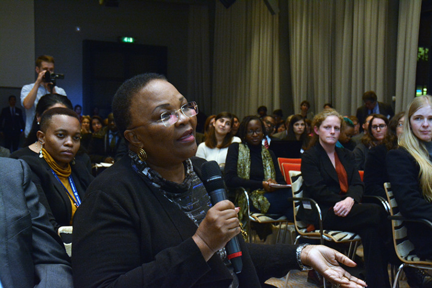 "Audience question at the 21 November 2016 event ""Through the looking glass – Imagining the future of international criminal justice"" held on the sidelines of the 2016 International Criminal Court Assembly of States Parties in The Hague, Netherlands. Photo by Kris Kotarski."
