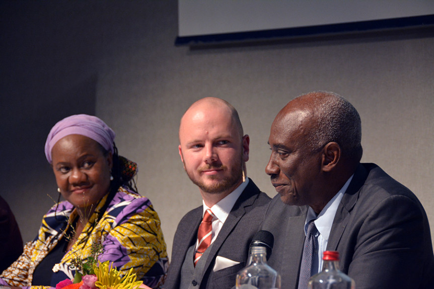 "Africa Group member Athaliah Molokomme, moderator Mark Kersten and Africa Group member Hassan Jallow at the 21 November 2016 event ""Through the looking glass – Imagining the future of international criminal justice"" held on the sidelines of the 2016 International Criminal Court Assembly of States Parties in The Hague, Netherlands. Photo by Kris Kotarski."