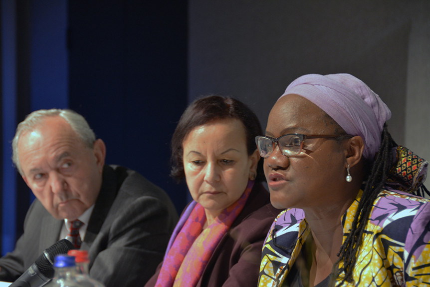 "Africa Group member Athaliah Molokomme speaks as Africa Group members Richard Goldstone and Fatiha Serour look on at the 21 November 2016 event ""Through the looking glass – Imagining the future of international criminal justice"" held on the sidelines of the 2016 International Criminal Court Assembly of States Parties in The Hague, Netherlands. Photo by Kris Kotarski."