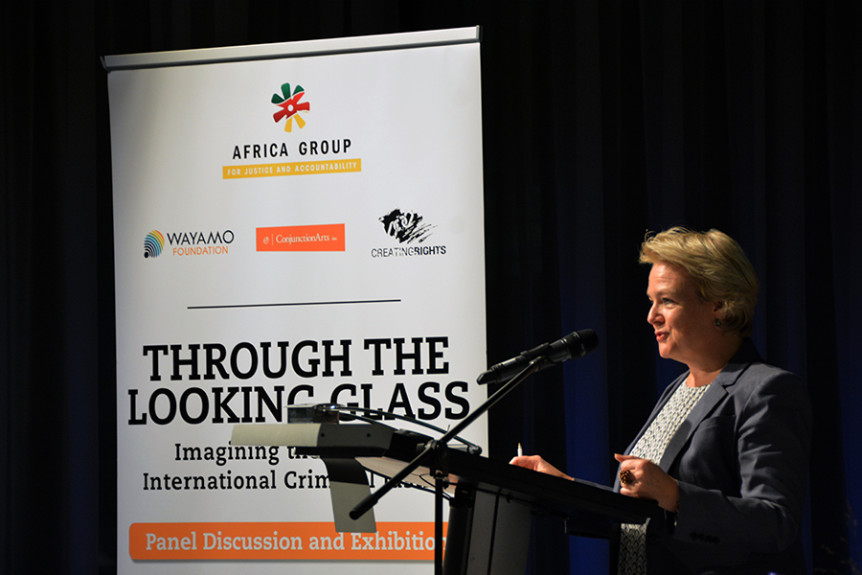 "Wayam Foundation Director Bettina Ambach welcomes the crowd at the 21 November 2016 event ""Through the looking glass – Imagining the future of international criminal justice"" held on the sidelines of the 2016 International Criminal Court Assembly of States Parties in The Hague, Netherlands. Photo by Kris Kotarski."